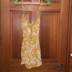 Yellow and white romper size medium